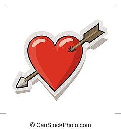 心, 赤い矢印, 穴を開けられる