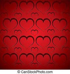 心, 赤い背景, パターン