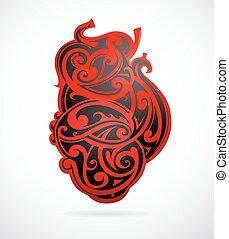 心, 部族の芸術, 形