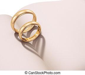 心, 配役, 形づくられた, リング, 結婚式, 影