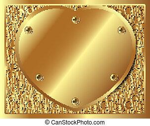 心, 金属, 背景, 金