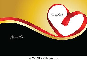 心, 金, バックグラウンド。, ベクトル, 赤いリボン