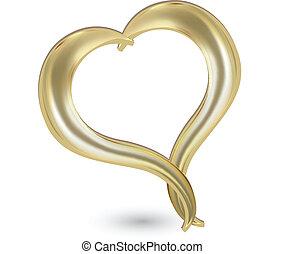 心, 金, ロゴ, ベクトル, バレンタイン