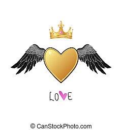 心, 金, 天使, 王冠, 現実的, 光沢がある, 翼