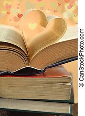 心, 開いた, 折られる, book., 形, 本, ページ