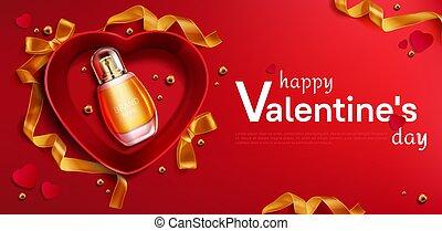 心, 開いているボックス, 香水, 贈り物, びん, shapedred