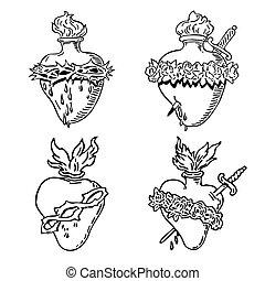 心, 集合, 紋身, 有福, 插圖, 處女, 設計, mary