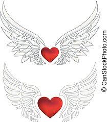 心, 集合, 翅膀, 天使, 紅色
