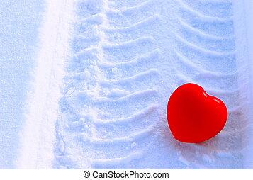 心, 雪, 背景