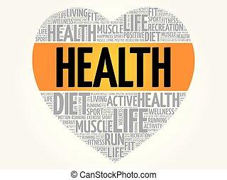 心, 雲, 健康, 単語, フィットネス