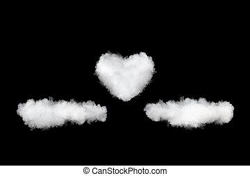 心, 雲, 隔離された, 背景, 黒