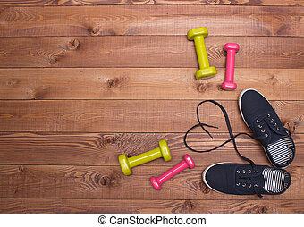 心, 鞋子, 木制, 重量, 背景, 健身, 帶子