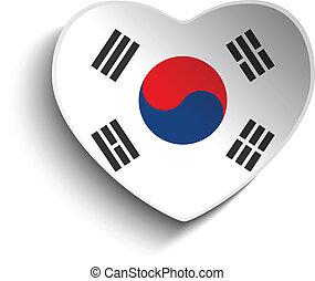 心, 韓国, ステッカー, 旗, ペーパー, 南