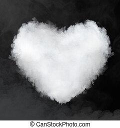 心, 黒, 隔離された, 雲, 形づくられた