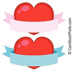 心, 2, 背景, 旗, 白い赤