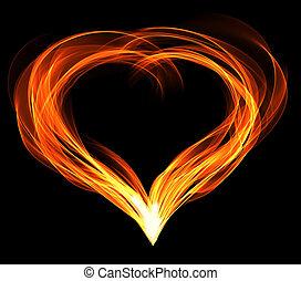 心, abstractly, fiery