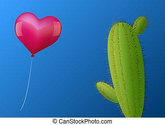 心, balloon, サボテン