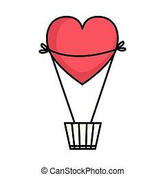 心, balloon, 形づくられた, 熱気