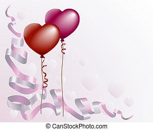 心, balloon, 愛, 背景, 形づくられた