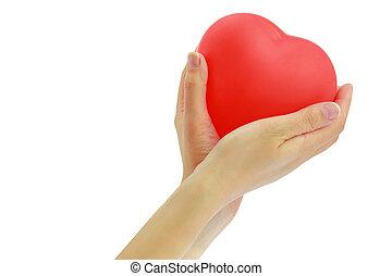 心, balloon, 手, 赤, womans