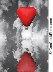 心, balloon, 暑い, 毛, 形, 赤