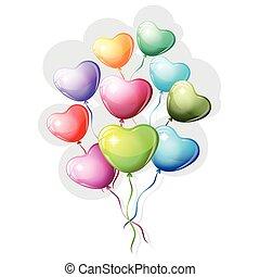 心, balloons., カラフルである, 形づくられた