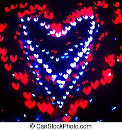 心, bokeh, 背景, バレンタインデー