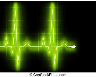 心, ekg, graph., eps, beat., 綠色, 8