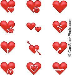 心, emoticons, セット, 愛, ベクトル, emoji