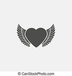 心, eps10, 平ら, イラスト, color., ベクトル, デザイン, 黒, 翼, アイコン
