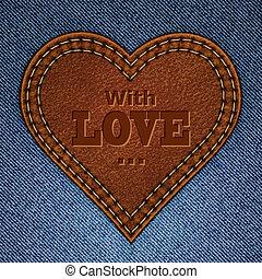 心, eps10, card., 革, 抽象的, ジーンズ, 挨拶, イラスト, バレンタイン, バックグラウンド。, ...