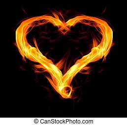 心, fiery