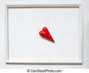 心, frame., しみになる, 型, シンボル, ペンキ, 背景, 白い赤