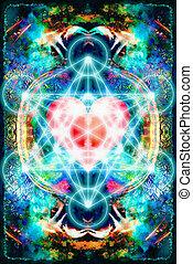 心, geometry., ライト, 抽象的, merkaba, バックグラウンド。, 神聖