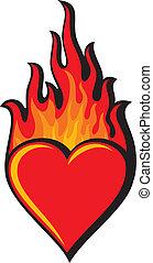心, (heart, 燃えている, flame)