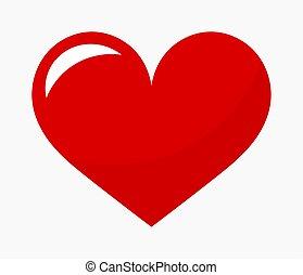 心, icon., 漫画, 赤