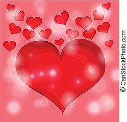 心, illustration., バレンタイン, バックグラウンド。, ベクトル, 日, 赤