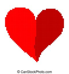 心, illustration., ピクセル, ベクトル, style., 赤