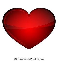 心, illustration., ベクトル, グロッシー, icon., 赤