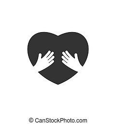心, illustration., 手, ベクトル, 保有物, logo.