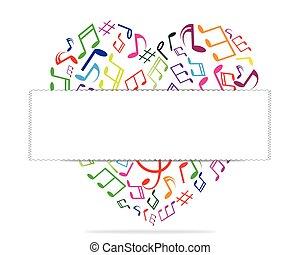 心, illustration., message., ベクトル, 音楽, 準備ができた, あなたの