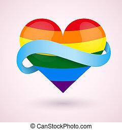 心, lgbt, ribbon., 背景, 虹