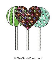 心, lollipops, 甘い, コレクション, おいしい, ラウンド