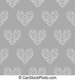 心, pattern., 種族, 装飾, seamless, 形, ベクトル