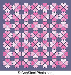 心, pattern., seamless, vector.