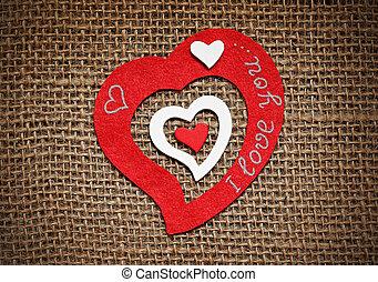 心, sackcloth., カード, バレンタイン