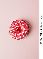 心, seet, 不健康, 一, 看法, 單色, 粉紅色, 模仿, 洒, 空間, 概念, 愛, 位置, 活, 背景, 套間, 食物, 情人節, 天, colar, 成形, donut, 頂部