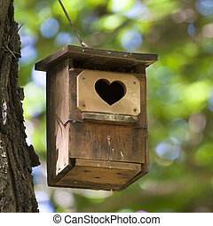 心, shapped, entrance., 鳥の家