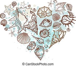 心, shells., イラスト, 手, ベクトル, 引かれる