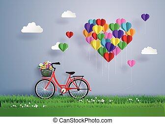 心, sky., 形づくられた, 風船, 自転車, 駐車される, 赤, 浮く, 草